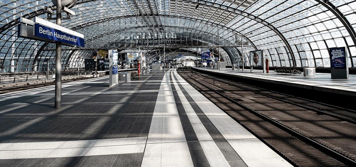 Empty Berlin Hauptbahnhof in coronavirus pandemic