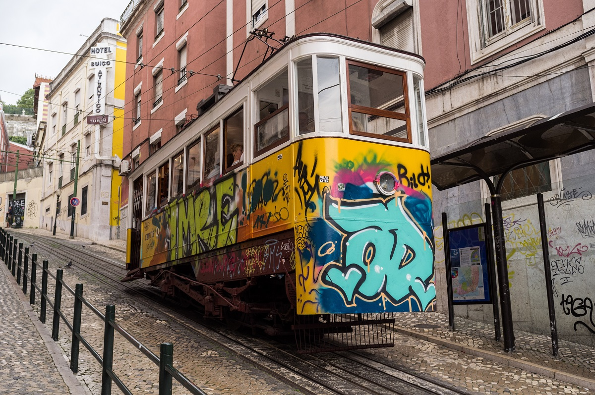 An old tram in Lisbon, Portugal
