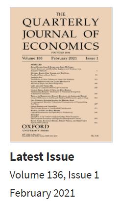 Latest Issue Quarterly Journal of Economics