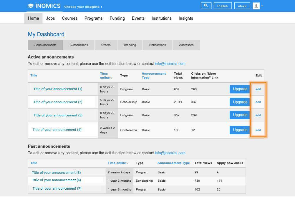 Inside INOMICS - New Feature: Edit your Announcements